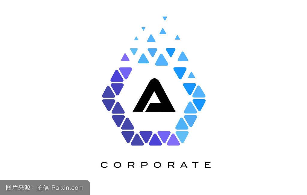 带有三角形的蓝色六边形字母标志.图片