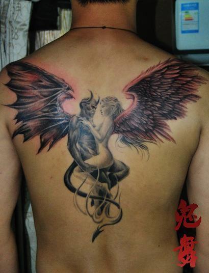 鸽子血恶魔天使纹身 六翼恶魔天使纹身 天使恶魔十字架纹身图片