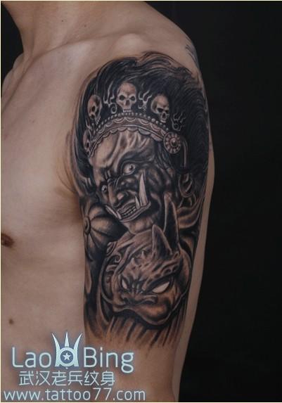 纹身黑财神_武汉纹身店超级霸气的大黑天神纹身图案作品;图片