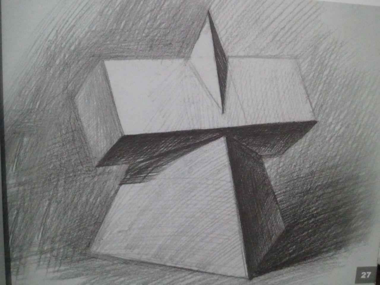 三棱柱素描图片_素描正方体教程 - 第4页