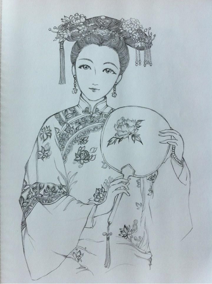 手绘怀孕妃子_古代妃子手绘素描展示_古代妃子手绘素描图片下载