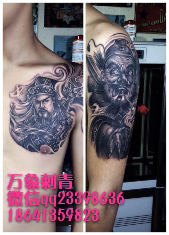 毛骗亮亮纹身_关羽纹身半甲图案图片_关羽纹身半甲图案图片下载