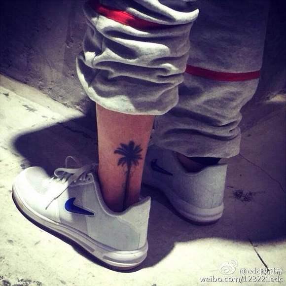 陈冠希纹身图片_|| 希引力*+ 谁知道冠希脚踝上那棵椰子树纹身的完整图呀_陈冠希 ...