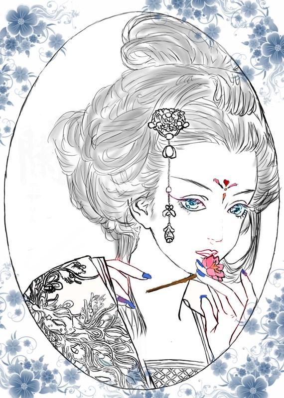 手绘简笔铅笔画唯美_简单的古代美女简笔画-漂亮的古装衣服简笔画-初学古装美女铅笔 ...