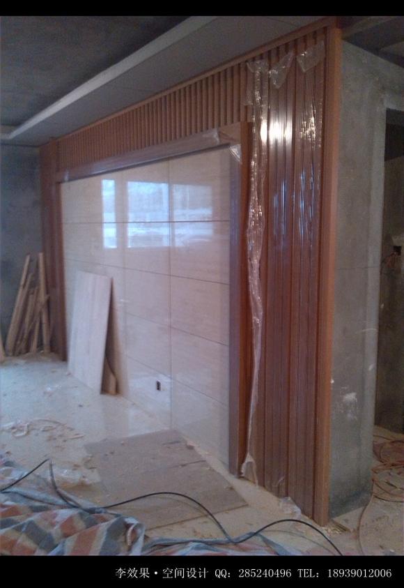 瓷砖挂墙效果图_...电视墙干挂瓷砖,看上去很上档次. 废板材利用,做一个工艺架...
