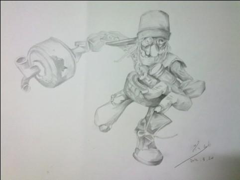 lol吕布素描_lol英雄素描铅笔画_lol英雄素描铅笔画画法
