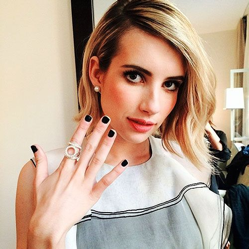 deleted的emma actrice black nails gorgeous - we heart it