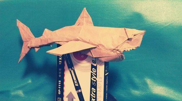 锤头鲨折纸步骤_折纸鲨鱼图片-鲨鱼折纸步骤图片大全/最简单折纸立体大白鲨 ...