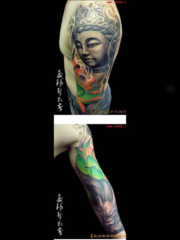 觀音半臂線條紋身分享展示圖片