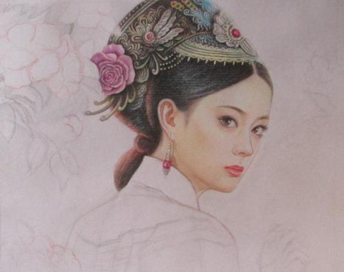 彩铅人物_【发图】 彩铅手绘.古装人物 —— 甄嬛_手绘吧_百度贴吧
