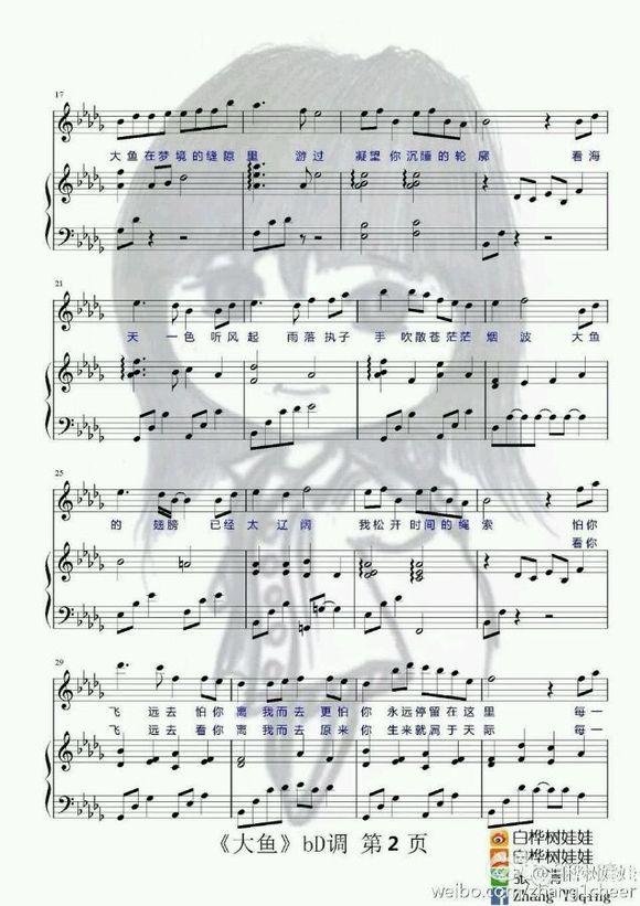 【求譜】求大魚海棠印象曲《大魚》的五線譜.鋼琴獨奏的圖片