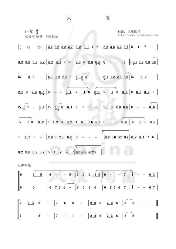 大魚海棠印象曲后半部分的陶笛曲譜 求看圖片