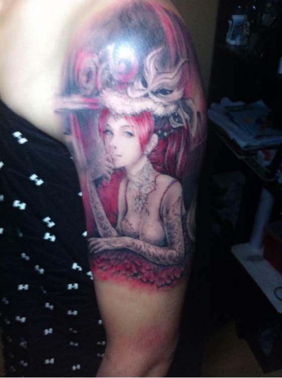 吕布戏貂蝉纹身图片_吕布纹身图案线条_吕布纹身图案线条分享展示