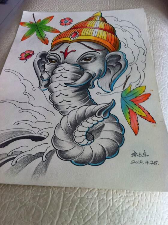 青龍花臂紋身手稿_藝妓高清墻紙_紋身圖案圖片圖片
