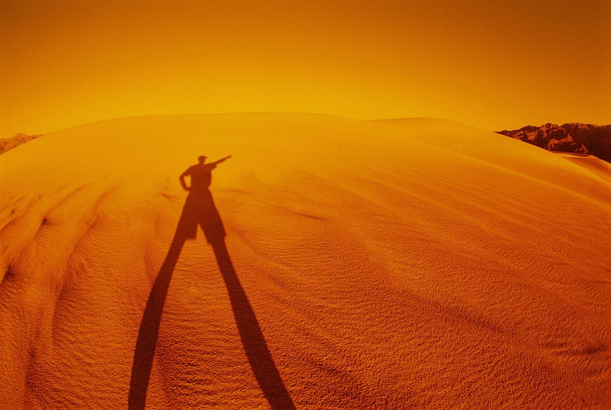 沙漠,國家公園,死亡谷國家公園,陰影,沙丘,極端地形,僅男人,僅一個圖片
