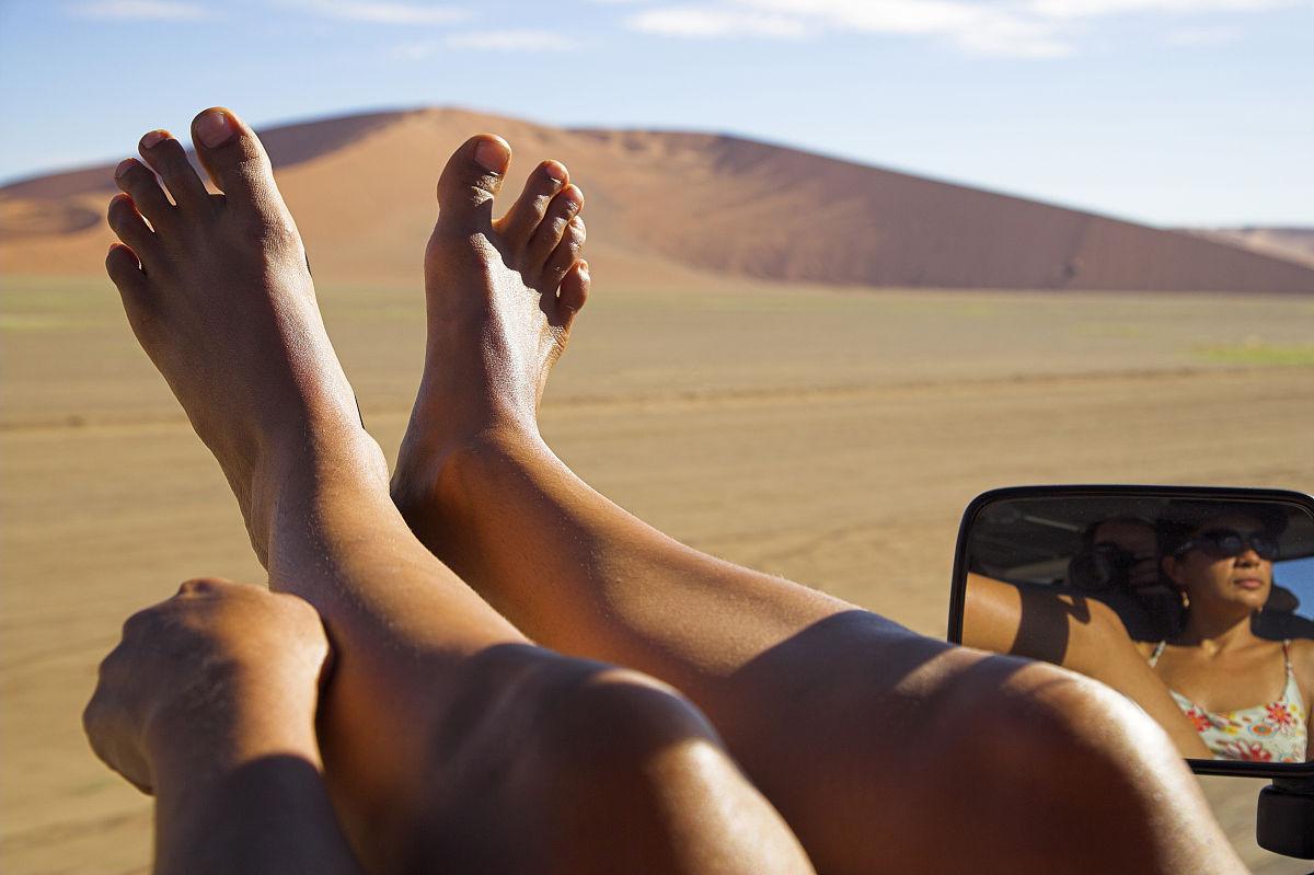 赤腳,駕車,部分,沙漠,沙子,反射,沙丘,國家公園,索蘇斯弗雷,一個人圖片