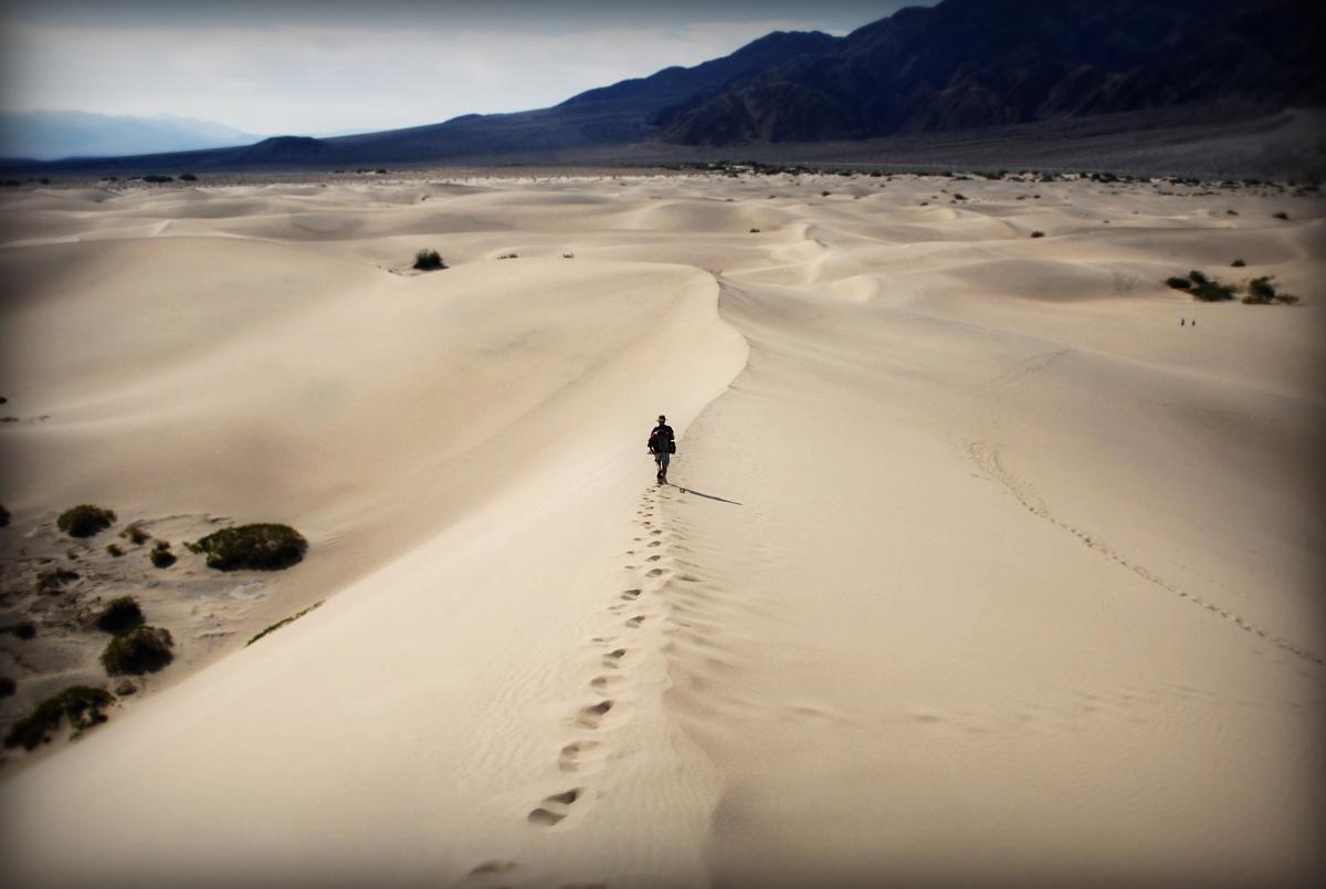 行走在沙漠中的人圖片