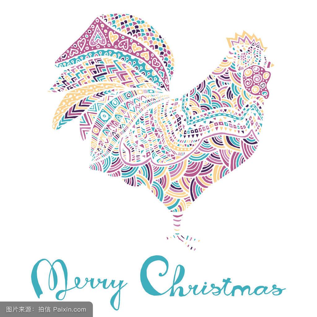 繪制,模式,性格,符號,傳統的,生肖,部落,鳥,偶像,卡片,假日,裝飾性圖片