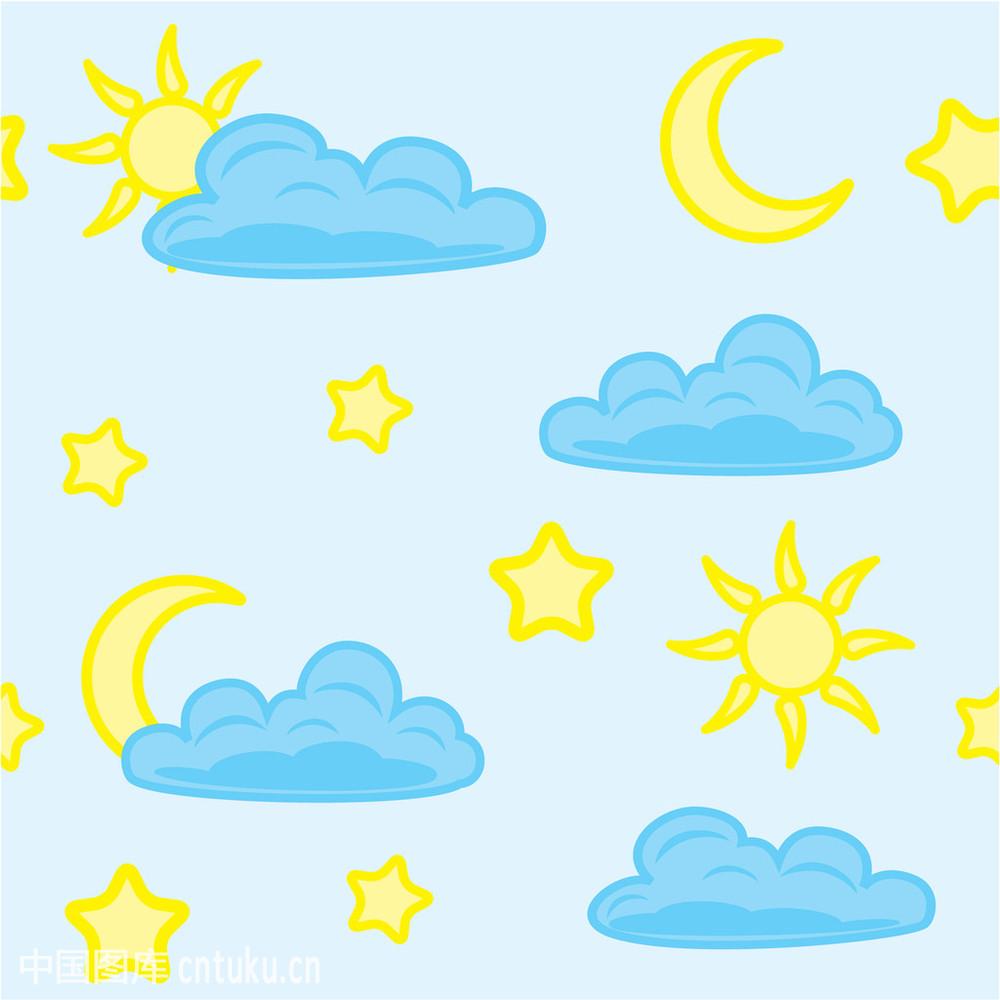 亚州黄色囹�a�.ly/)_卡通星星月亮囹 魟,黄色,绘画插图,接缝,卡通,蓝色,太阳,天空,星球