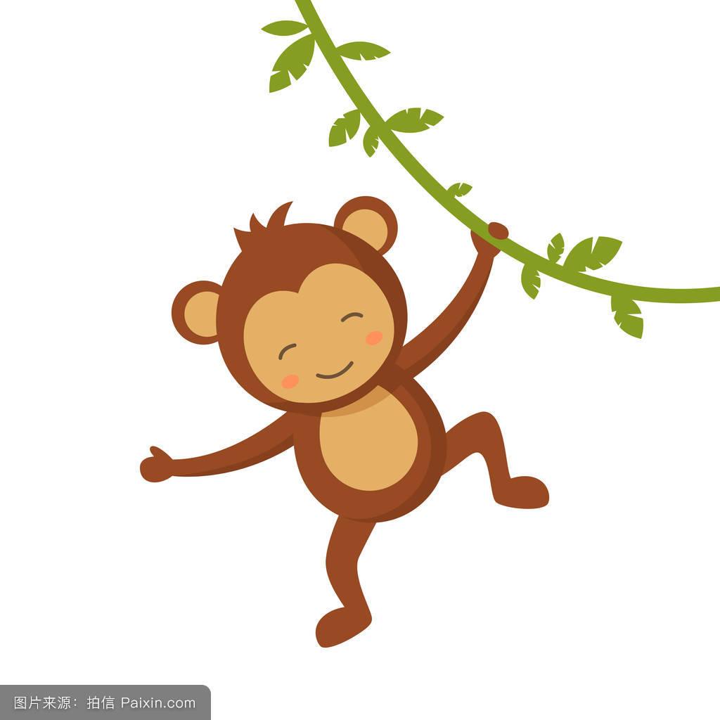 卡通小猴子囹�a_可爱小猴子矢量图