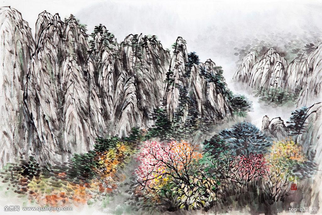 國家森林,國家公園,樹,秋色,秋葉,山,攀升,雪岳山國家公園,水墨畫圖片