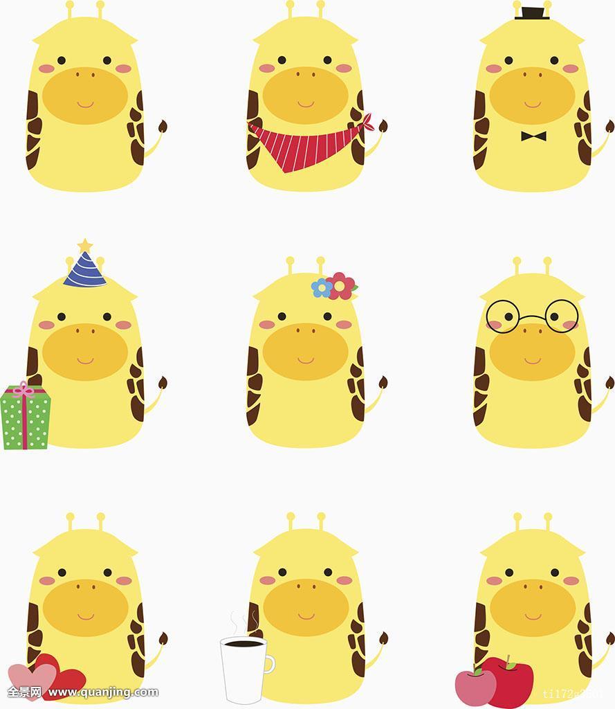 黄色片和动物干_插画,动物,动画表情,品种,可爱,情感,无人,拟人,不干胶,黄色,彩色图片