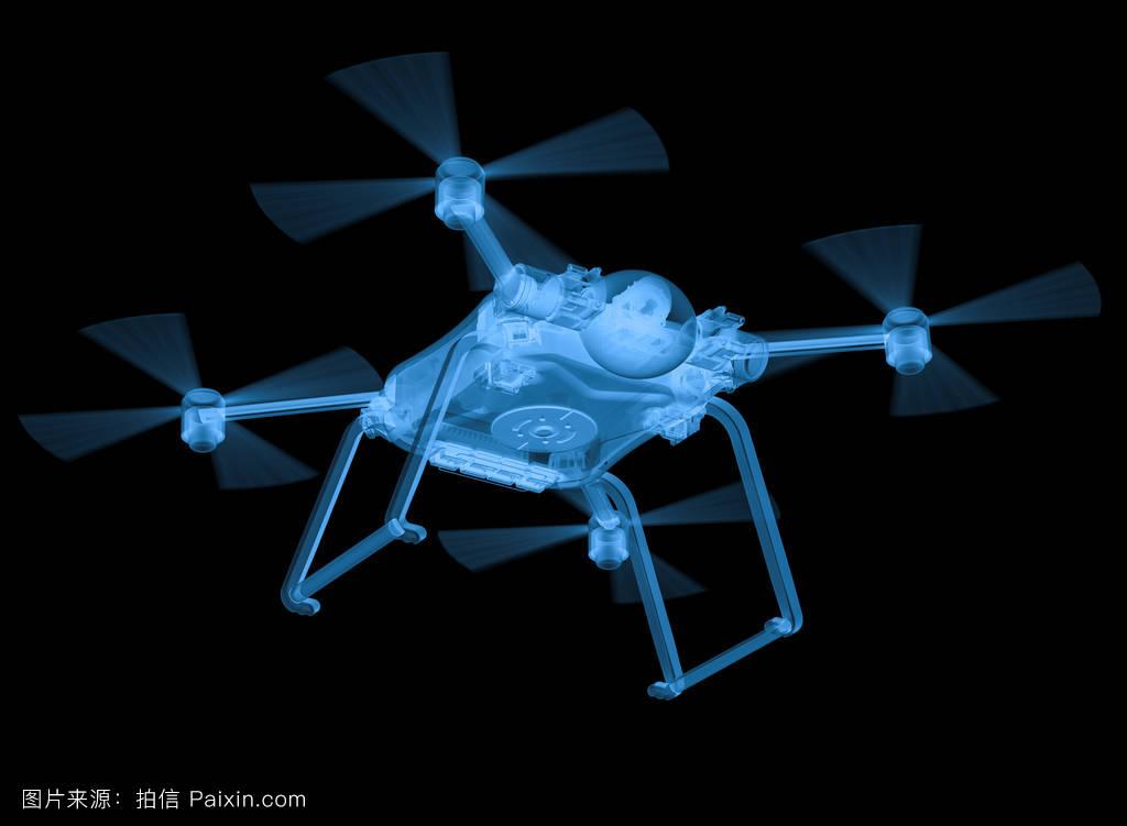 創新藍色直升機四軸飛行器螺旋槳概念x射線機器人監控照相圖片