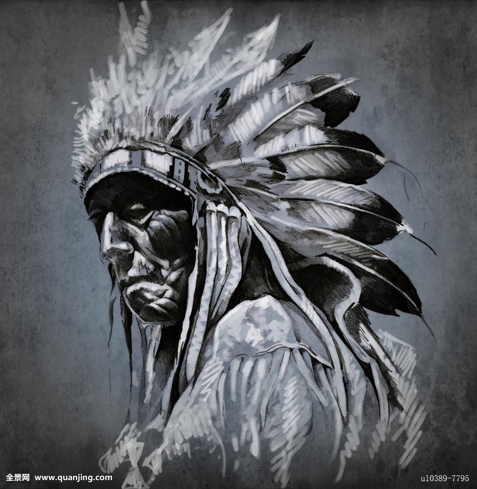 艺术头像_纹身,艺术,头像,美国印第安人,头部,上方,深色背景图片
