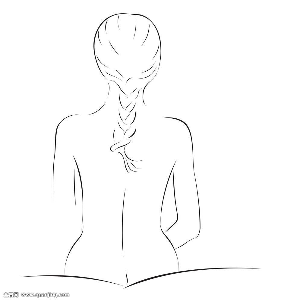 额美情色_女人,女性,素描,情色,裸露,魅力,背影,美女,美,身体,辫子,插画,女人